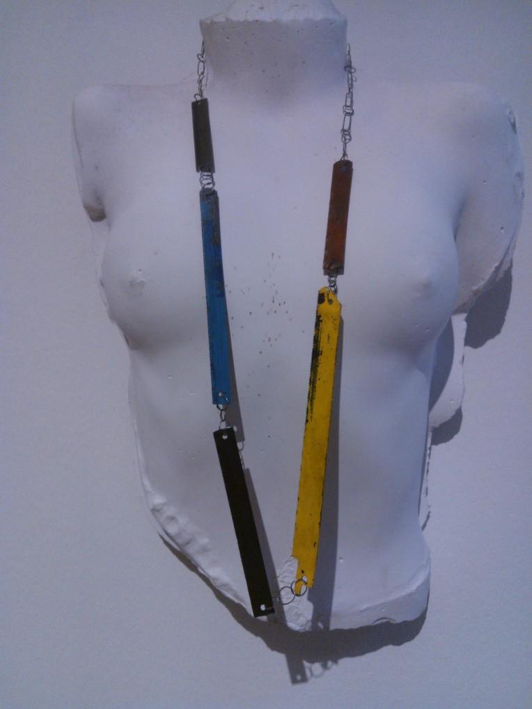 Bernhard Schobinger, saw blade necklace, exhibition at the Manchester art gallery .